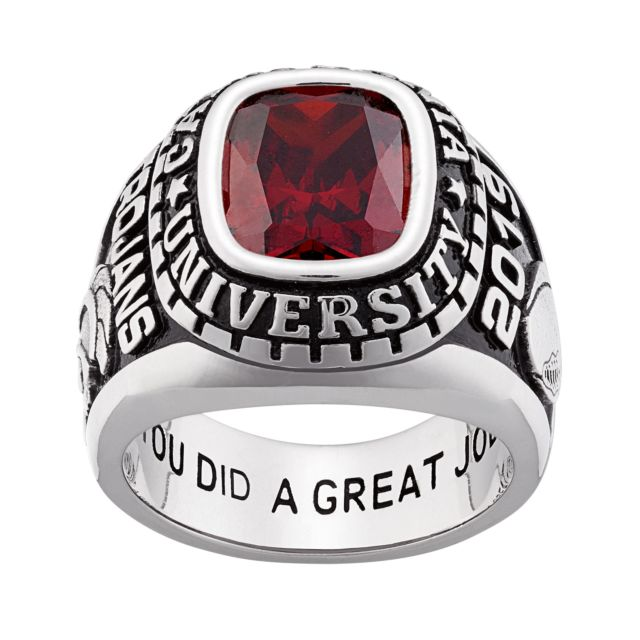 10K White Gold Men's Large Traditional Stone Class Ring