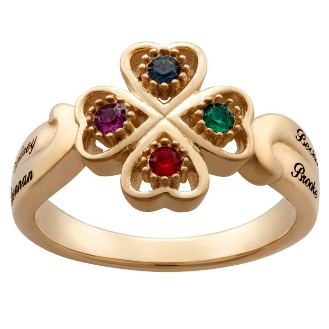 4 Leaf Clover Hearts Birthstones and Engraved Names Ring