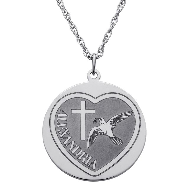 Sterling Silver Cross and Dove Name Disc Necklace