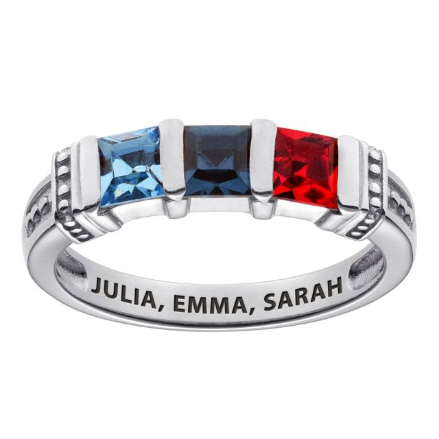 Sterling Silver Square Birthstone Ring - 3 Stones
