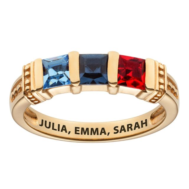 Gold over Sterling Square Mother's Birthstone Ring - 3 Stones