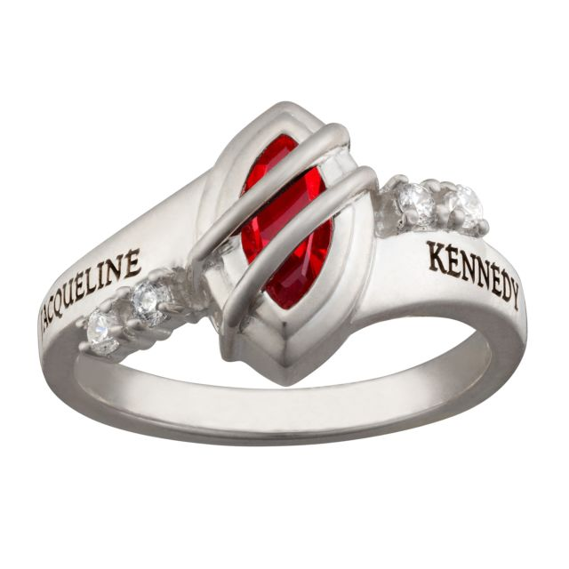 Sterling Silver Freestyle Marquise Wrapped Birthstone Class Ring