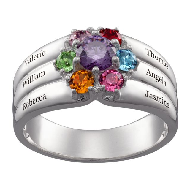 Sterling Silver Mother's Round Birthstone Family Name Ring
