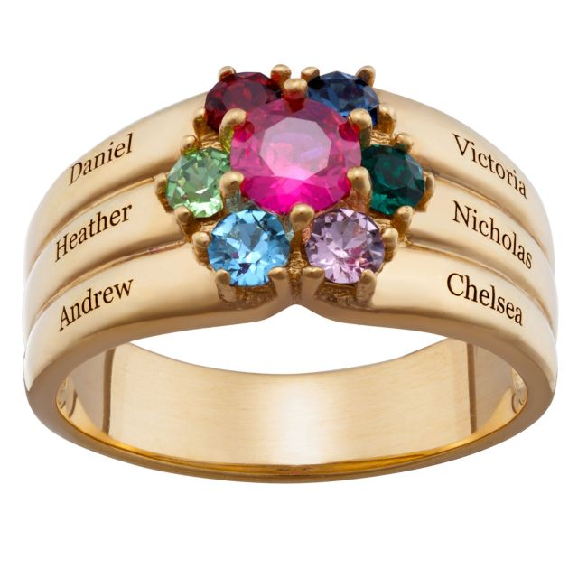 Gold over Sterling Mother's Round Birthstone Family Name Ring