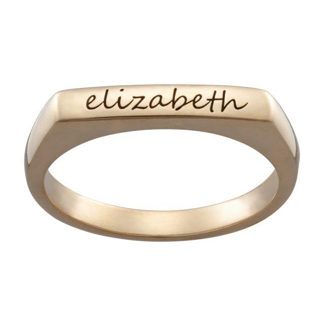 14K Gold over Sterling Engraved Name Rectangular Stackable Ring