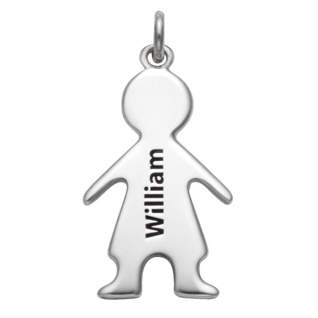 Sterling Silver Engraved Name Boy Charm