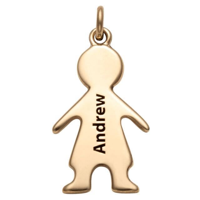 Gold over Sterling Engraved Name Boy Charm