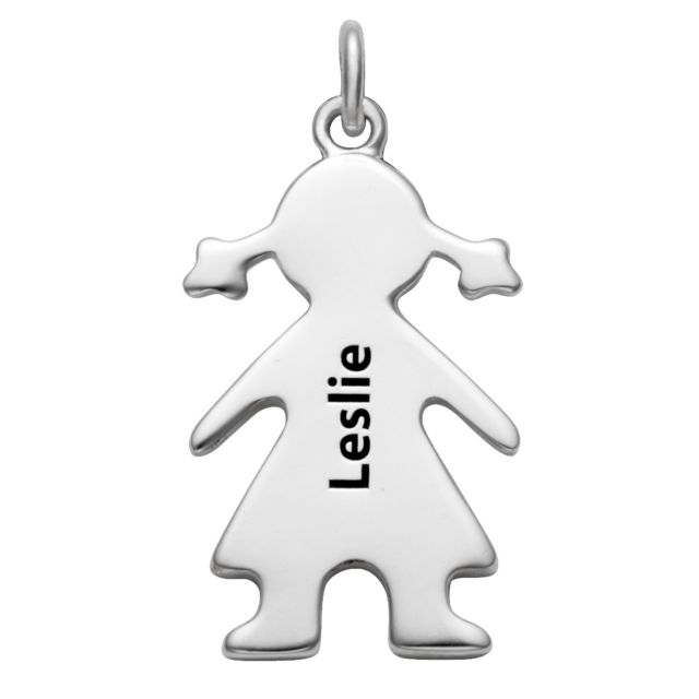 Sterling Silver Engraved Name Girl Charm