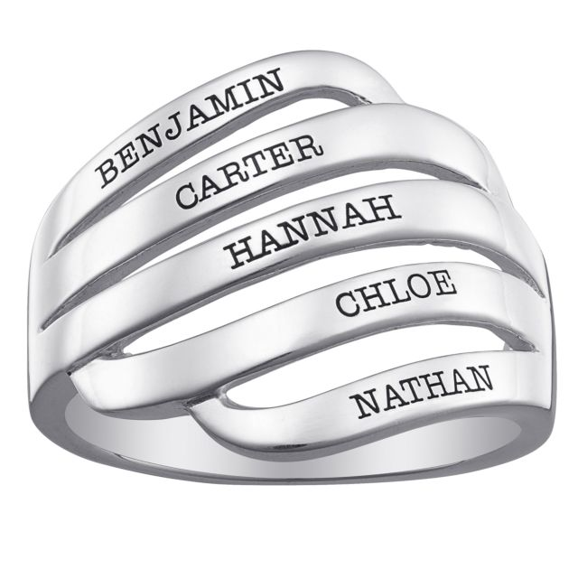Sterling Silver Engraved Family Name Swirl Ring