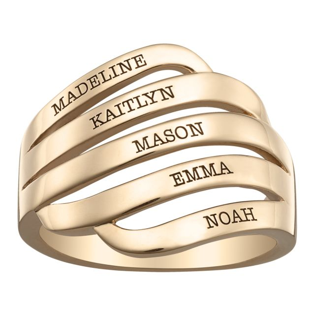 Gold over Sterling Engraved Family Name Swirl Ring