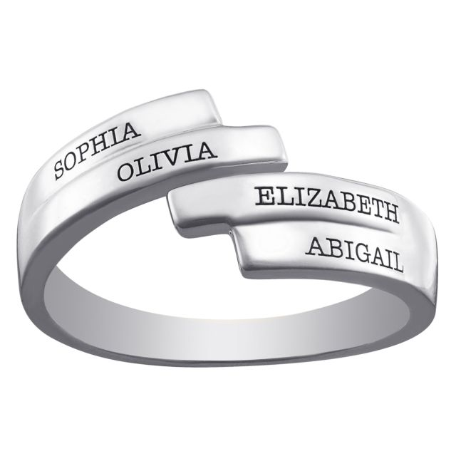Sterling Silver Engraved Family Name Bypass Ring