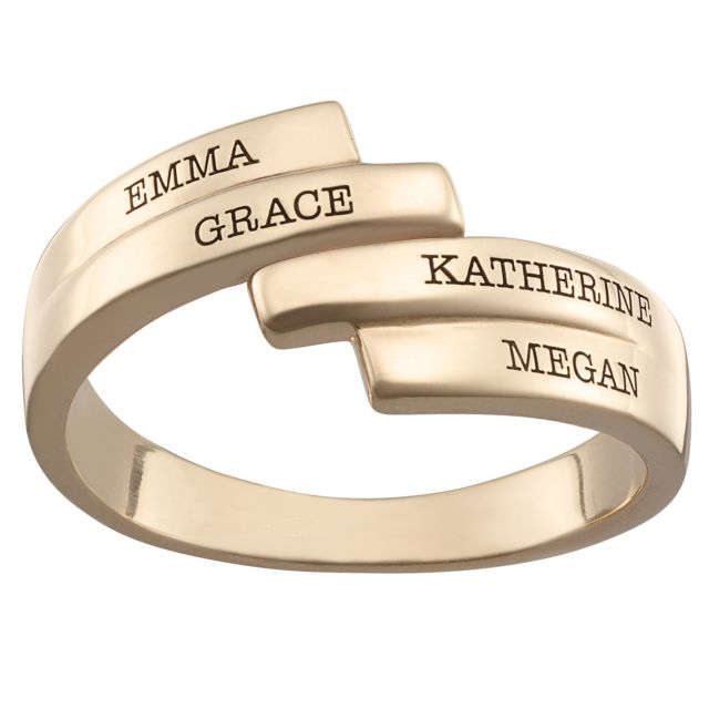 Gold over Sterling Engraved Family Name Bypass Ring