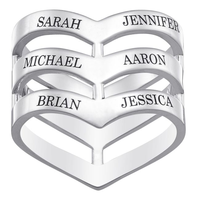 Sterling Silver Engraved Family Name Chevron Ring
