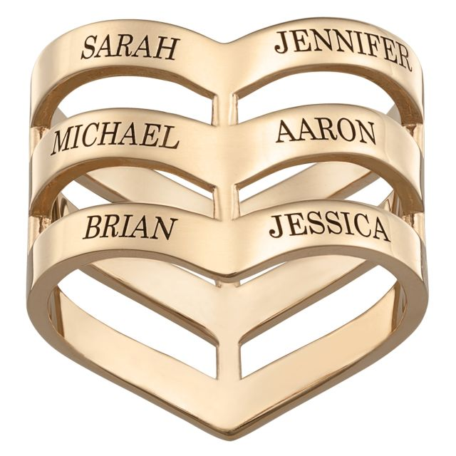 Gold over Sterling Engraved Family Name Chevron Ring