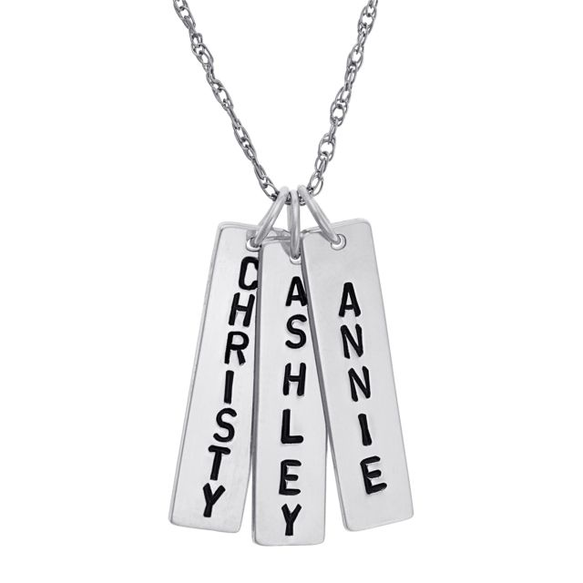 Sterling Silver Family Engraved Name Bar Necklace - 3 Names