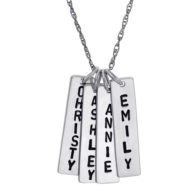 Sterling Silver Family Engraved Name Bar Necklace - 4 Names