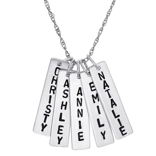 Sterling Silver Family Engraved Name Bar Necklace - 5 Names