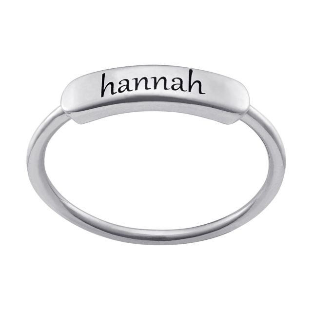 Sterling Silver Engraved Name Rectangle Ring