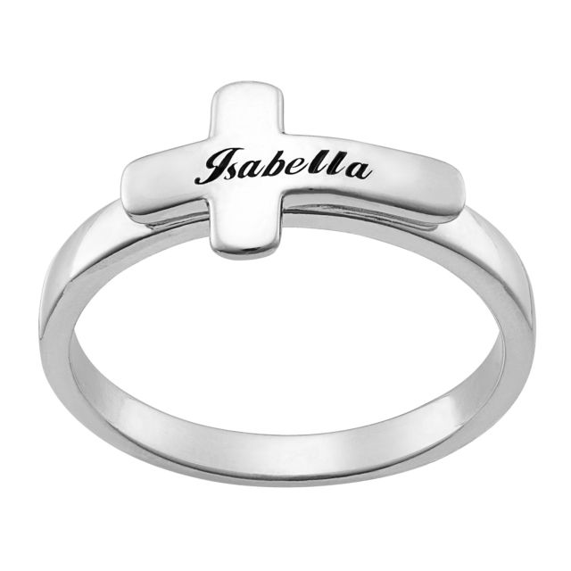 Sterling Silver Engraved Name Cross Ring