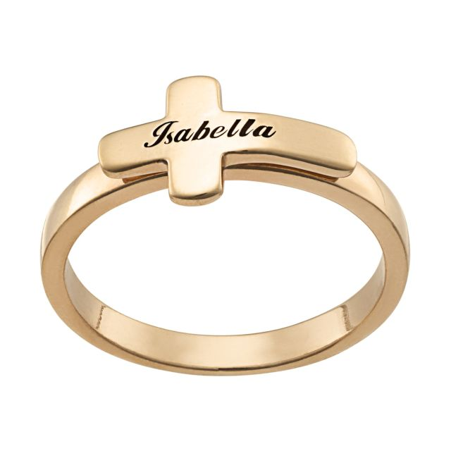 Gold over Sterling Engraved Name Cross Ring