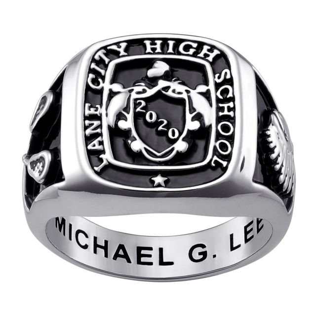 Men's Sterling Silver Crest Square Signet Class Ring