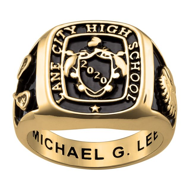Men's Gold over Sterling Crest Square Signet Class Ring