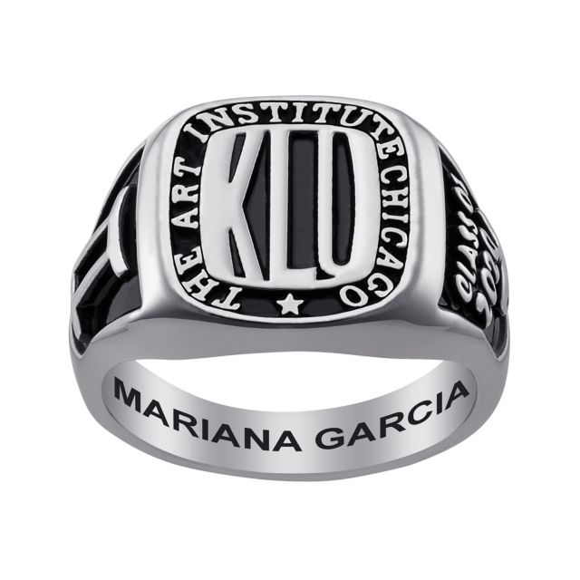 Ladies Sterling Silver Rectangle Signet Class Ring