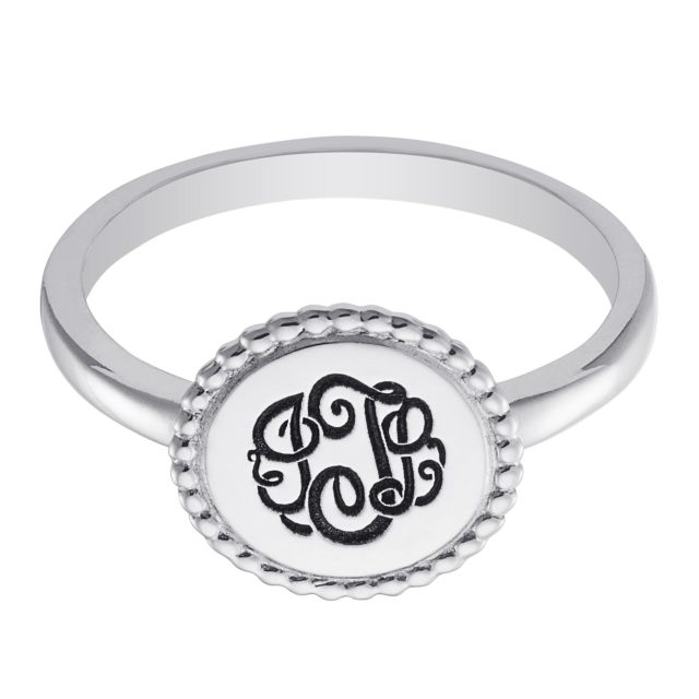 Sterling Silver Monogram Round Roped Ring