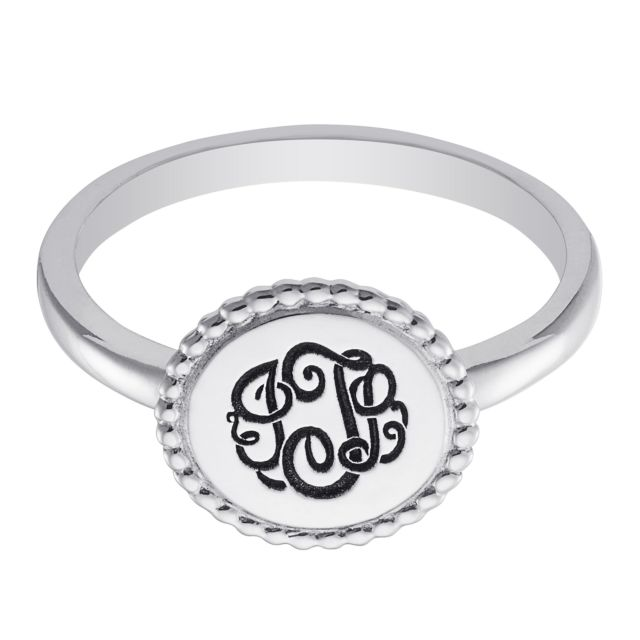 Sterling Silver Engraved Monogram Round Roped Ring