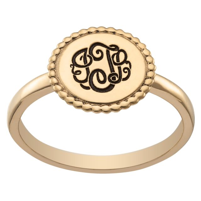 Gold over Sterling Engraved Monogram Round Roped Ring