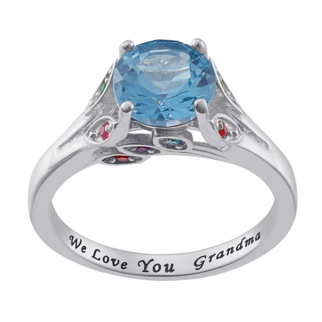 Sterling Silver Personalized Mother's and Grandmother's Birthstone Ring