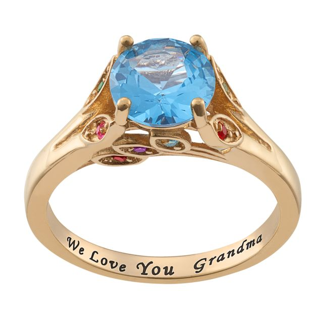 14K Gold over Sterling Personalized Mother's Birthstone and Family Ring