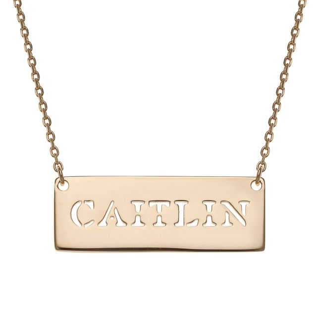 Gold Over Sterling Silver Cut-Out Name Bar Necklace