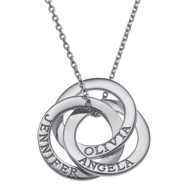 Sterling Silver Interlocking Rings Engraved Names Necklace