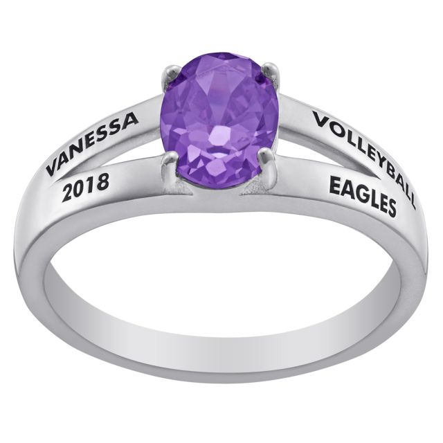 Sterling Silver Freestyle Oval Birthstone Class Ring