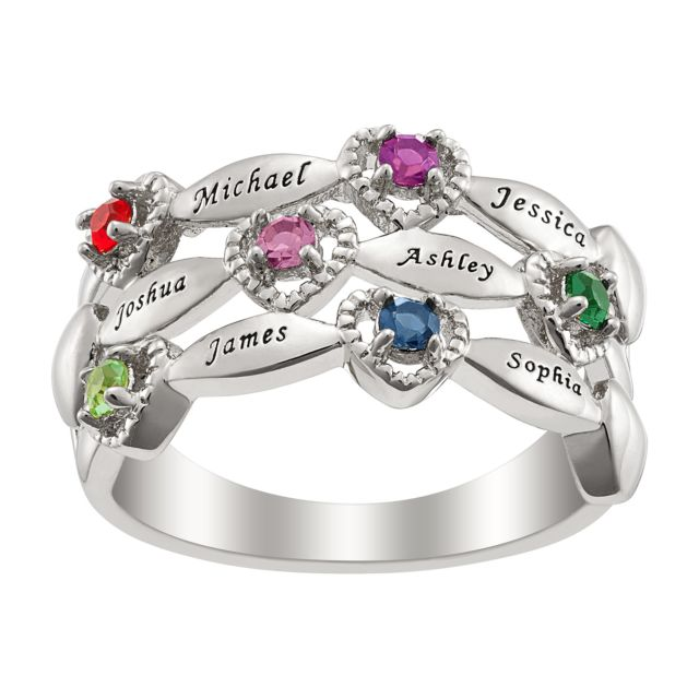 Grandmothers Name and Birthstone Ring