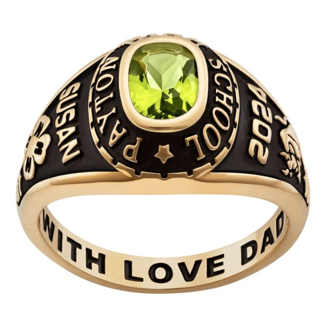 10K Yellow Gold Ladies Traditional Petite Birthstone Class Ring