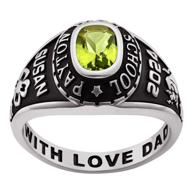 10K White Gold Ladies Traditional Petite Birthstone Class Ring