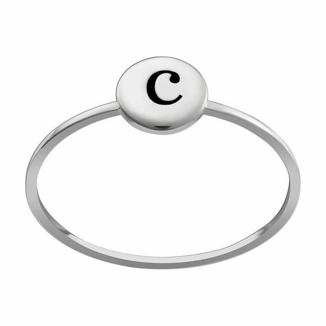 Sterling Silver Engraved Initial Petite Circle Ring