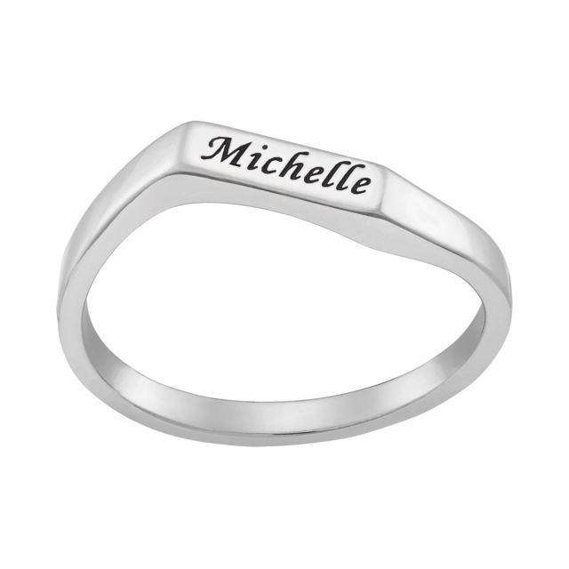 Engraved Name Geometric Stackable Ring