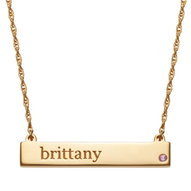 Gold Plated Personalized Name and Birthstone Bar Necklace