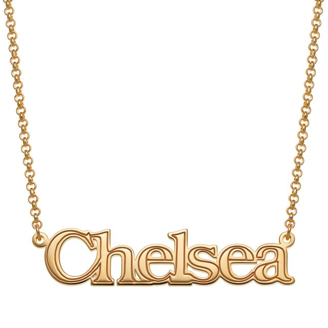 Gold Over Sterling Name with Outline Necklace