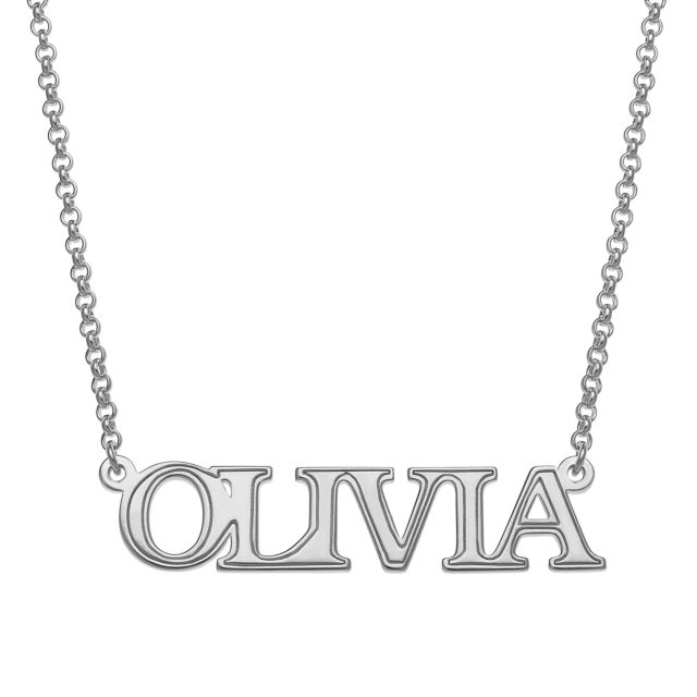 Sterling Silver Uppercase Name with Outline Necklace