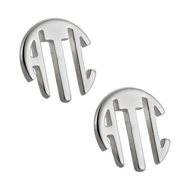 Sterling Silver Circle Monogram Earrings