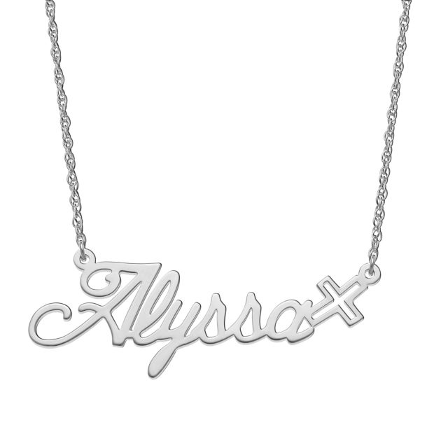 Sterling Silver Script Name with Cross Necklace
