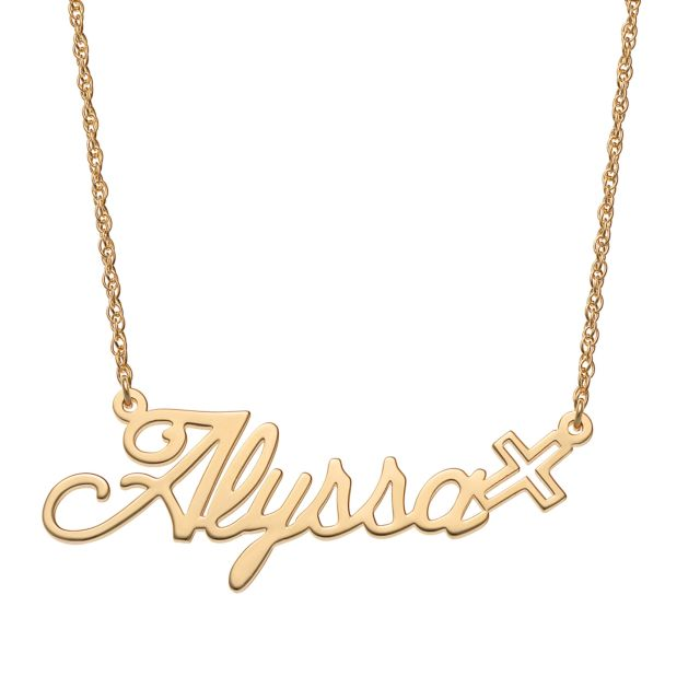 Gold Over Sterling Script Name with Cross Necklace