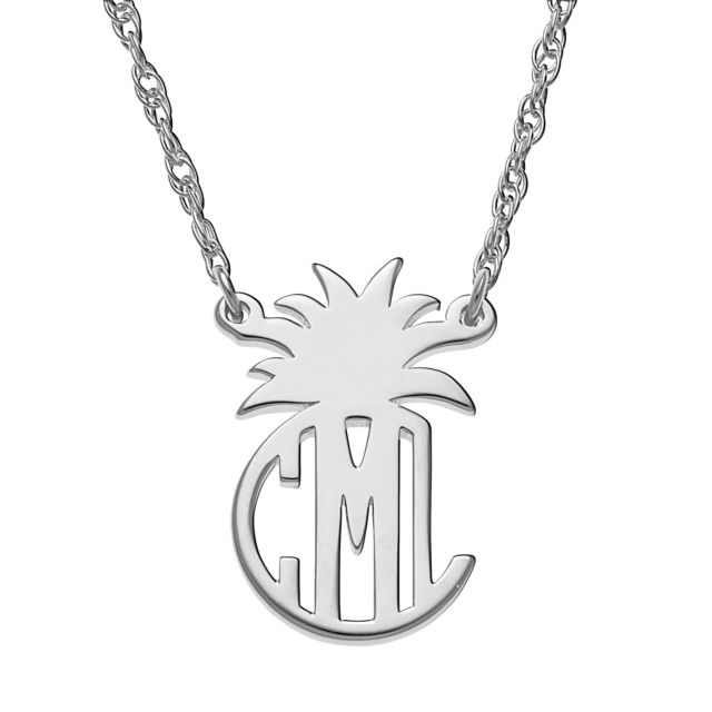 Sterling Silver Circle Monogram with Pineapple Top Necklace