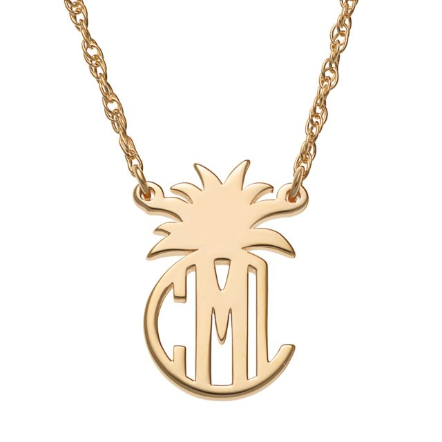 Gold Over Sterling Circle Monogram with Pineapple Top Necklace