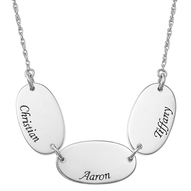 Sterling Silver Engraved Name Oval Station Necklace - 3 Names