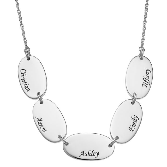 Sterling Silver Engraved Name Oval Station Necklace - 5 Names